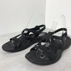 Merrell Agave black leather sandals 7